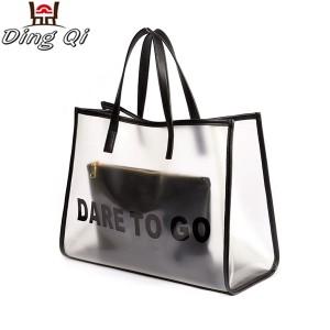 Custom printed wholesale pvc transparent tote shopping handbag