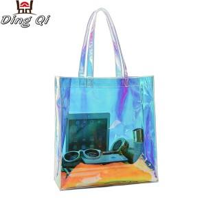 Transparent hologram laser pvc clear tote waterproof beach handbag