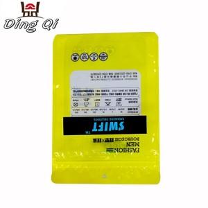 Custom print glossy three side seal clothes packaging bag underwear zip lock bag