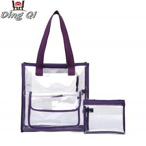 Pvc travel transparent zipper fashion tote bag with handle