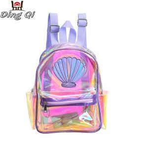 Custom fashion hologram pvc backpack bag wholesale laser hot sale shoulder jelly bags