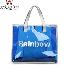 Custom logo fashion ladies colored transparent pvc beach bags with zipper pocket handbag