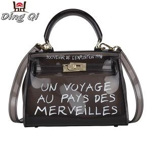 Custom pvc plastic tote clear colorful ladies handbag zip pouch