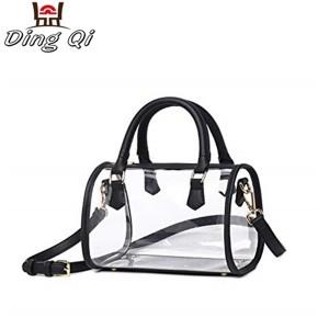 Custom PVC transparent tote handbag clear zipper for ladies