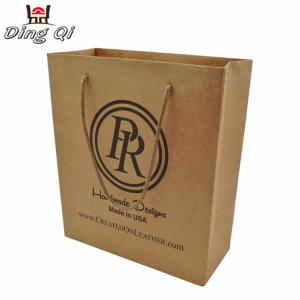 Custom logo printed take away wedding gift recycled brown kraft paper bag
