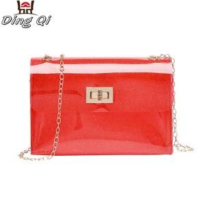 Clear mini pvc zipper tote bags with shoulder strap