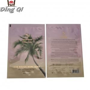 Custom design gloss finish three side heat sealed plastic aluminum foil cosmetic facial mask packaging bags