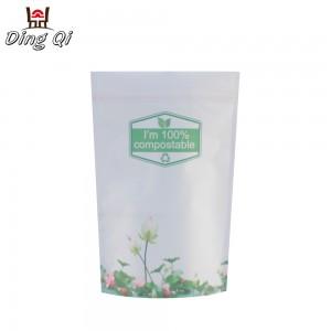 Custom logo printed stand up ziplock compostable bag