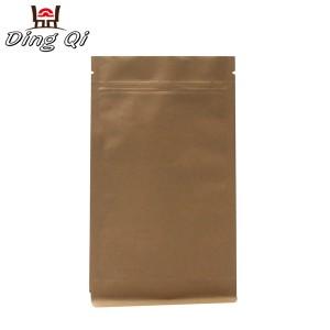 Stock brown kraft paper box bottom pouch
