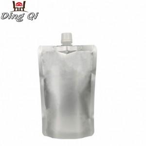 Stock 1000ml stand up aluminium foil plastic liquid bag with spout